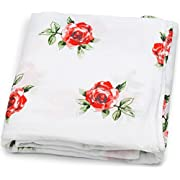 Muslin Swaddle Blankets (Floral Red Rose Print 47x47) for Newborn Baby Girl, Large Silky Soft Bamboo/Cotton - Receiving Blanket, Swaddling Wrap, Sleepsack, Carseat Cover by adaline