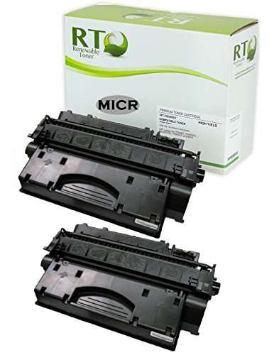Renewable Toner Compatible MICR Toner Cartridge High Yield Replacement for HP 05X CE505X Laserjet P2055 (2-Pack)