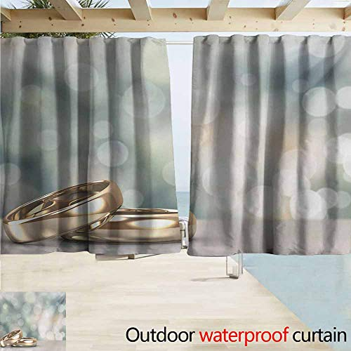 AndyTours Balcony Curtains,Wedding Celebration Two Wedding Engagement Rings on Bokeh Abstract Background,Darkening Thermal Insulated Blackout,W63x72L Inches,Gold Pale Green Blue