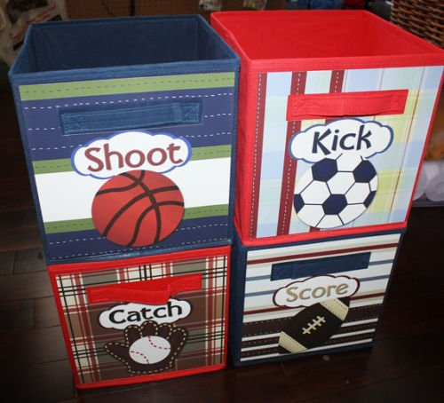 4 Patterned Sports Basketball Soccer Football Baseball Fabric Bins Boy's Bedroom Baby Nursery Organizer for Toys or Clothing 4FB006 by Toad and Lily