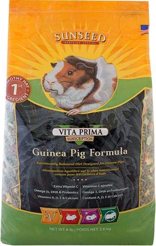 Sunseed 36038 Vita Prima Sunscription Guinea Pig Food - High Fiber Timothy Formula, 8 LBS