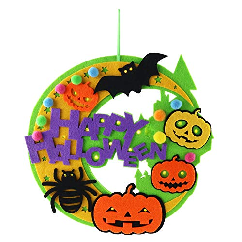 Athoinsu LED Non-Woven Halloween Wreath Hanging Decoration with String Lights to Celebrate Halloween for Wall Door Ornaments, Green -