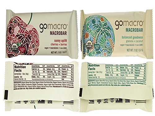 GoMacro Bars / Go Macro Organic Nutrition Meal Bars Variety, 1.9 oz- 2.5 oz (Pack of 20 / 2 Each of 10 Flavors ) with Snack Castle 9'' x 8'' Reusable Snack Pouch with Locking Knob Bundle by GoMacro (Image #6)