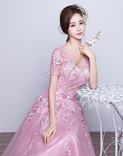 Beauty Kleider Rosa Applique kurze Rückenfrei Spitze Brautjunfer Emily Hülsen 40xTr4