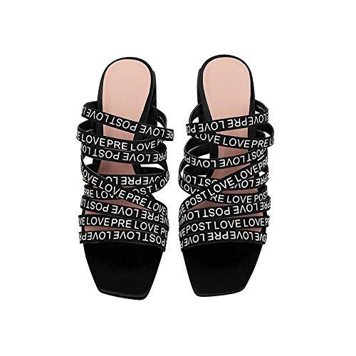 JIANXIN Damen Blockabsatz Und Hochhackige Sandalen Mit Buchstaben Stil Im Stil Buchstaben Von Damenhausschuhen. (größe : 36) - 302efe