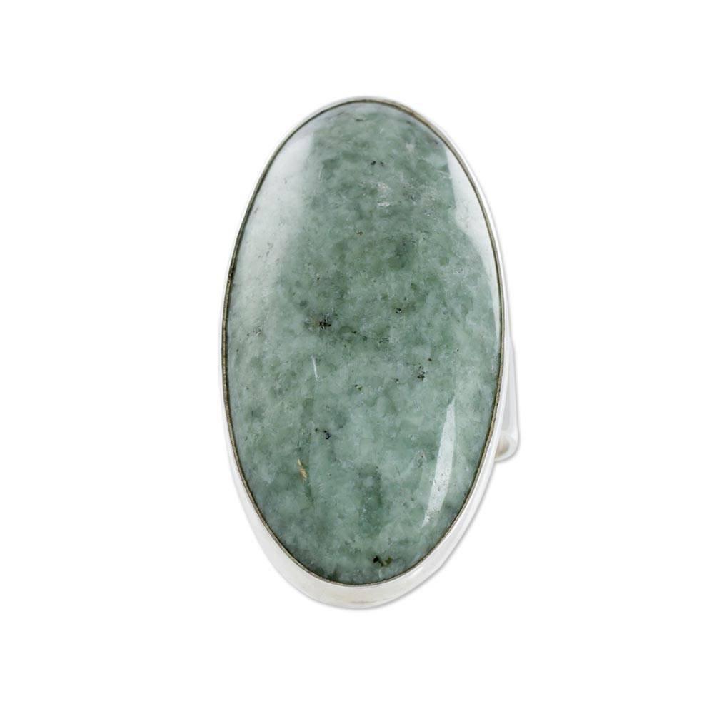 NOVICA Natural Jade .925 Sterling Silver Cocktail Ring, 'Sixth Star'