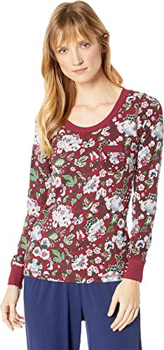 (Vera Bradley Women's Henley Pajama Top Bordeaux Blooms Large)