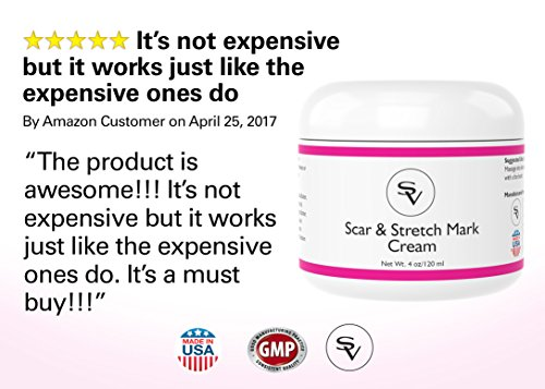 Powerful Scar & Stretch Marks Cream | Potent Stretch Mark Removal Creme and Acne Scar Removal Cream | Infused w/Vitamin C & Hyaluronic Acid For Faster Results | Anti Stretch Mark Cream Made in USA