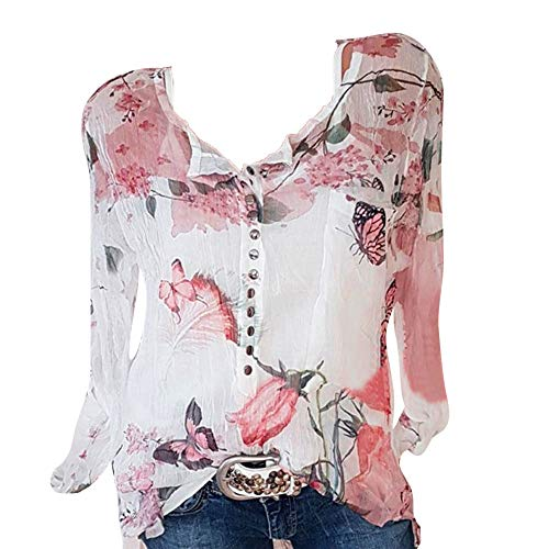 Seaintheson Sexy Women's Tops, Women Casual Chiffon Irregular Hem Top Floral Printed Button T-Shirt Blouse Tee White -