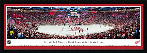 Detroit Red Wings, Final Game at The Joe - 42x15.5-inch Single Mat, Select Framed Picture by Blakeway Panoramas