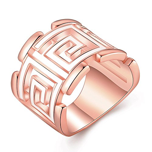 Fashion Women Charms Jewelry Rose Gold Classic Geometry Statement Rings (Tin Man Nose)