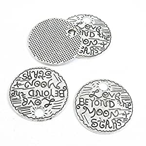 Qty 10 Pieces Silver Tone Jewelry Making Charms Filigrees M4HU1 Love Beyond the Moon Stars