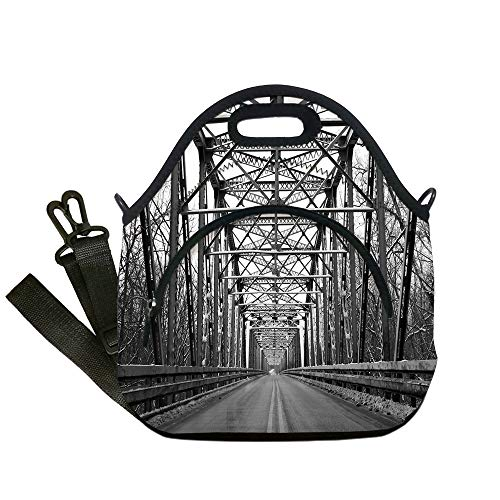 Insulated Lunch Bag,Neoprene Lunch Tote Bags,Black and White,Road Through Bridge Tunnel Urban City and Modern Architecture Image Decorative,Black White Grey,for Adults and children