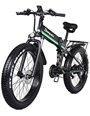 Electric Mountain Bike 21 Speed E-bike 26 Inches 1000W 48V 13ah Folding Fat Tire Snow Bike Pedal Assist Lithium Battery Hydraulic Disc Brakes for Adult