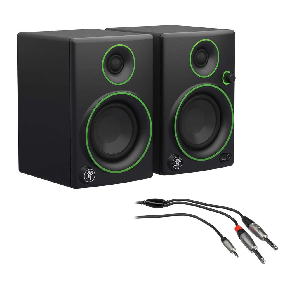 Mackie CR3 3'' Woofer Creative Reference Multimedia Monitors (Pair) with REAN 3.5mm TRS to Dual 1/4'' TS Pro Stereo Breakout Cable (3')