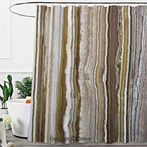 Shower Curtains, Onyx Marble Rock Themed Vertical Lines and Blurry Stripes in Earth Color, Fabric Bathroom Decor Set with Hooks, 72 x 72 Inches