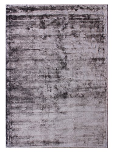 Modern Plain Area Rug, 100% Solid Viscose, Velvet Touch, Ultra Luxury Pile, Hand Woven in India (5 Feet X 7 Feet, Eggplant)
