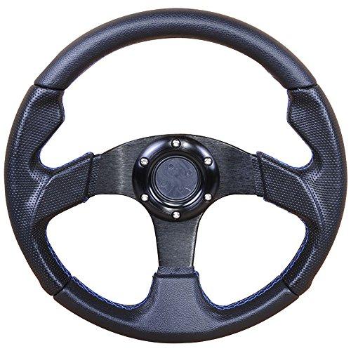 Jdm Steering Wheels (320MM Black PVC Leather Blue Stitch 6-Bolt Steering Wheel & Horn Button)