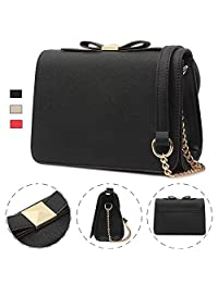 Ansee Small Crossbody Purse Wallet Pu Leather Bags with Bowknot Chain Strap for Women Shoulder Bag