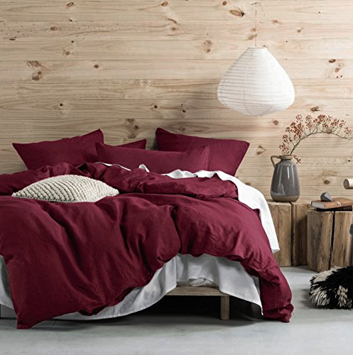 Washed Cotton Chambray Duvet Cover Solid Color Casual Modern Style Bedding Set Relaxed Soft Feel Natural Wrinkled Look (Queen, Tawny (Full Tawny Port)