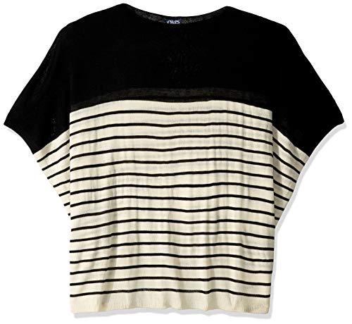 (Chaps Womans Women's Stripe Poncho, black One Size)