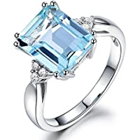 Simple Lovely 925 Silver Aquamarine Gemstone Ring Wedding Jewelry Gifts Size 5-10 (9)