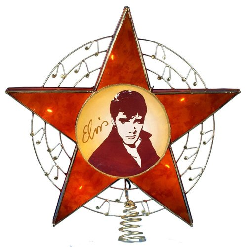 Kurt Adler 12-Inch 10-Light Elvis Centerpiece in Capiz Star Treetop with 5-Inch lead wire and spare bulbs