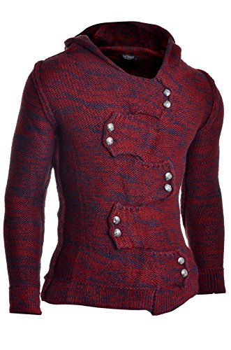 - Men's Jumper Hooded Wool Cable Knit Long Sleeve Sweater Metallic Buttons Cardigan