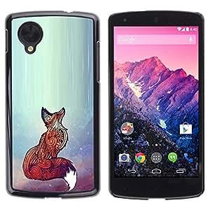 Design for Girls Plastic Cover Case FOR LG Nexus 5 D820 D821 Fox Red Cute Animal Bright Art Beautiful OBBA