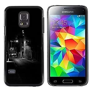 rígido protector delgado Shell Prima Delgada Casa Carcasa Funda Case Bandera Cover Armor para Samsung Galaxy S5 Mini, SM-G800, NOT S5 REGULAR! /Lights Black Buildings Somber Night/ STRONG