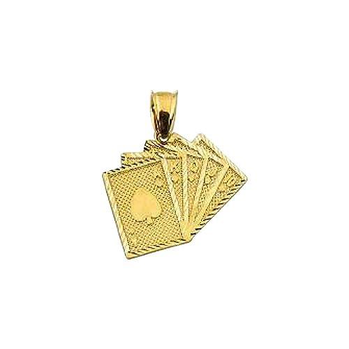 Amazon.com: Colgante de tarjeta de juego de oro auténtico de ...