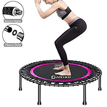 Image of DARCHEN 450 lbs Mini Trampoline for Adults, Indoor Small Rebounder Exercise Trampoline for Workout Fitness, 450 lbs Max-Load Bungees for Quiet and Safely Cushioned Bounce, 40 Inch Gym Trampoline Fitness Trampolines