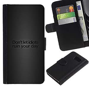KLONGSHOP // Tirón de la caja Cartera de cuero con ranuras para tarjetas - Idiotas divertidos Mensaje - Samsung Galaxy S6 //
