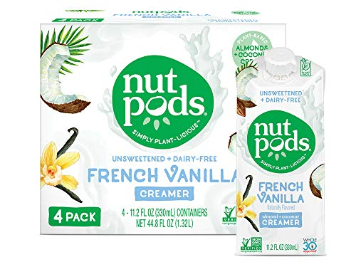 nutpods French Vanilla, Unsweetened Dairy-Free Liquid Coffee Creamer Made From Almonds and Coconuts (4-pack)