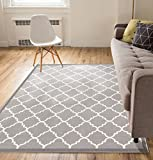 Non-Skid Slip Rubber Back Antibacterial 5x7 (5' x 7') Area Rug Dallas Moroccan Trellis Grey Modern Geometric Lattice Thin Low Pile Machine Washable Indoor Outdoor Kitchen Entry