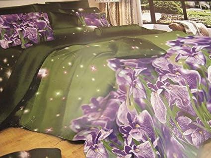Trapunte Da Letto Singolo : Fab set copripiumino viola fiori sfondo verde effetto 3d trapunta da