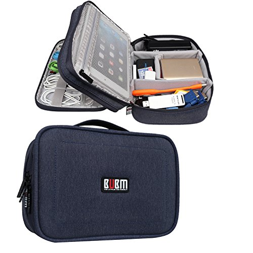 BUBM Electronic Organizer, Double Layer Travel Gadget Bag Accessories Storage Case for Cables, Cord, USB Flash Drive, Battery and More, A Net Zipper Pouch Fits for 7.9'' iPad Mini,Dark Blue by BUBM
