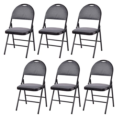 Upholstered Materials Outdoor (Giantex Set of 6 Folding Chairs Fabric Upholstered Padded Seat Metal Frame Home Office (Grey))