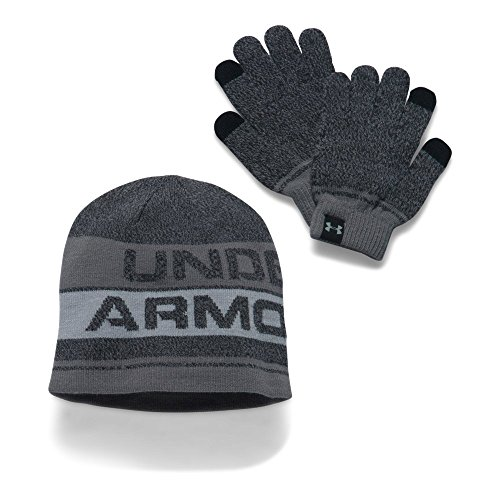 Under Armour Boys' Beanie & Glove Combo Set 2.0, Black/Steel, One Size