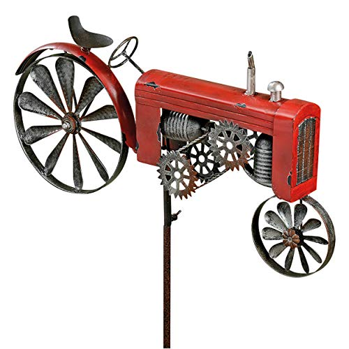 WHW Whole House Worlds Americana Red Farm Tractor Garden Spinner, Vintage Style Stake Decoration, Rustic Red with Antiqued Finish, 4 Ft 4 inches Tall, (130 cm)