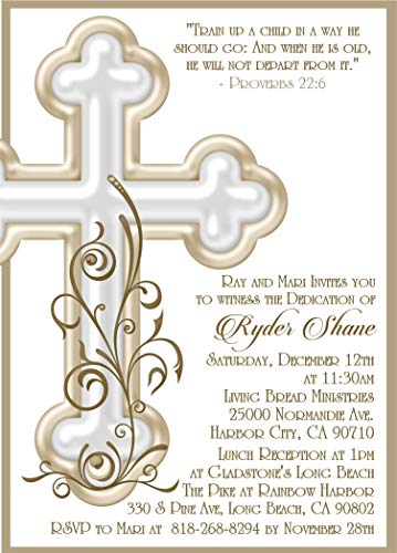 (Ivory and Gold Personalized Baptism, Christening, First Communion or Baby Dedication Invitations)