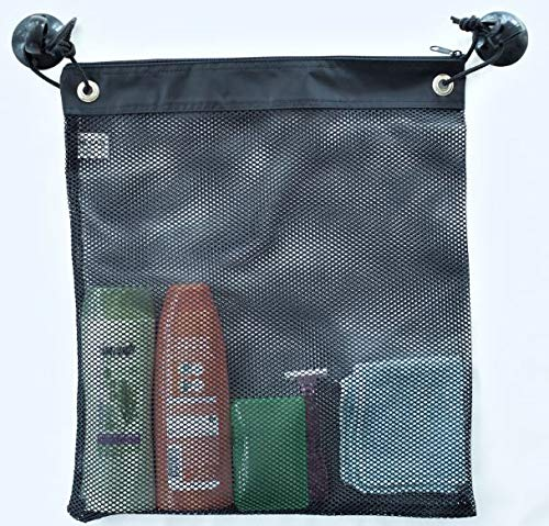 Shower Bag Tote, Mesh Caddy, Dorm Gym Toiletry Organizer with 2 Suction Cups, Quick Dry, Black, 16