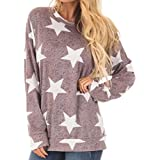 TiTCool Womens Pentagram Star Long Sleeve Casual Sweatshirt Pullover Tops Blouse