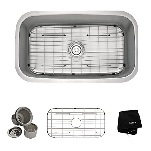 Kraus KBU14 31 1/2 inch Undermount Single Bowl 16 gauge Stainless Steel Kitchen Sink