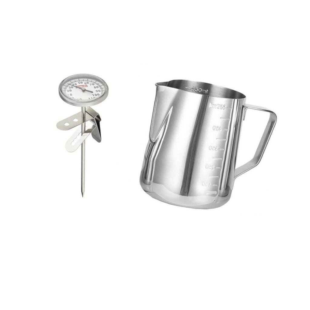 Dovewill Cappucino Steamed Milk Tea Frothing Thermometer with Pitcher Foam Scale Cup