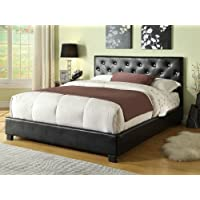 Black Leather like vinyl Upholstered Button Tufted Headboard Queen Bed