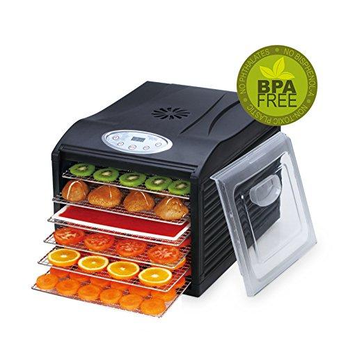 BioChef Arizona Sol Food Dehydrator 6 x BPA FREE Stainless Steel Drying Trays - Includes 2 Year Warranty & 1 x Non Stick / Drip Tray & Fine Mesh Sheet - Best Raw Food & Jerky Dehydrator (Black)