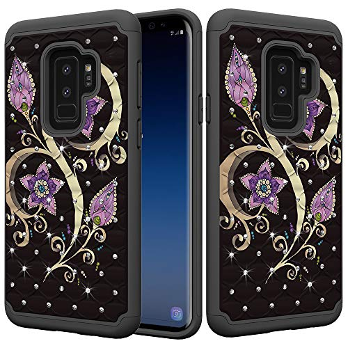 Galaxy S9 Plus Case, UZER Dual Layer Shockproof Luxury Glitter Sparkle 3D Diamond Studded Bling Rhinestone Painted Series Hard PC+ Soft Silicone Hybrid Impact Defender Case for Samsung Galaxy S9 Plus