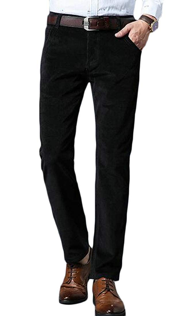 Fubotevic Mens Casual Business Solid Slim Fit Straight Leg Flat-Front Corduroy Dress Pants