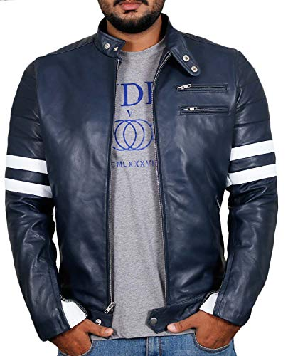 Laverapelle Men's Genuine Lambskin Leather Jacket (Navy Blue, 3XL, Polyester Lining) - 1501535